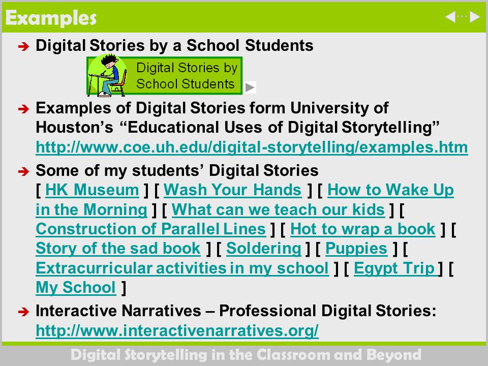 Digital Storytelling in the Classroom and Beyond Examples  Digital Stories by a School Students  Examples of Digital Stories form University of Houston's Educational Uses of Digital Storytelling http://www.coe.uh.edu/digital-storytelling/examples.htm http://www.coe.uh.edu/digital-storytelling/examples.htm  Some of my students' Digital Stories [ HK Museum ] [ Wash Your Hands ] [ How to Wake Up in the Morning ] [ What can we teach our kids ] [ Construction of Parallel Lines ] [ Hot to wrap a book ] [ Story of the sad book ] [ Soldering ] [ Puppies ] [ Extracurricular activities in my school ] [ Egypt Trip ] [ My School ]HK MuseumWash Your HandsHow to Wake Up in the MorningWhat can we teach our kids Construction of Parallel LinesHot to wrap a book Story of the sad bookSolderingPuppies Extracurricular activities in my schoolEgypt Trip My School  Interactive Narratives – Professional Digital Stories: http://www.interactivenarratives.org/ http://www.interactivenarratives.org/