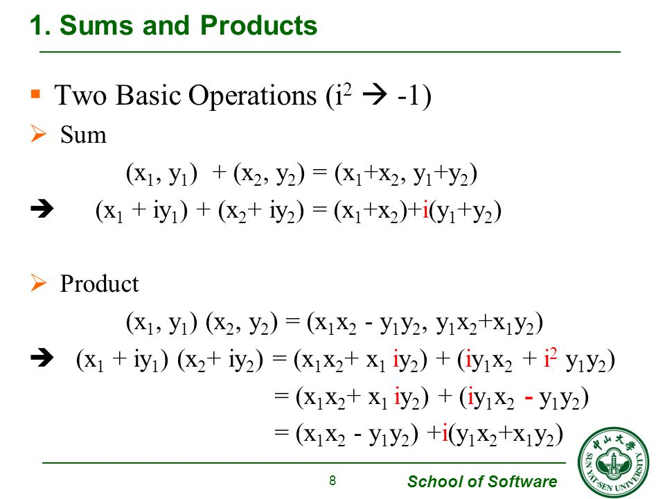 School of Software  Example 2 To determine the nth roots of unity, we start with And find that 10.