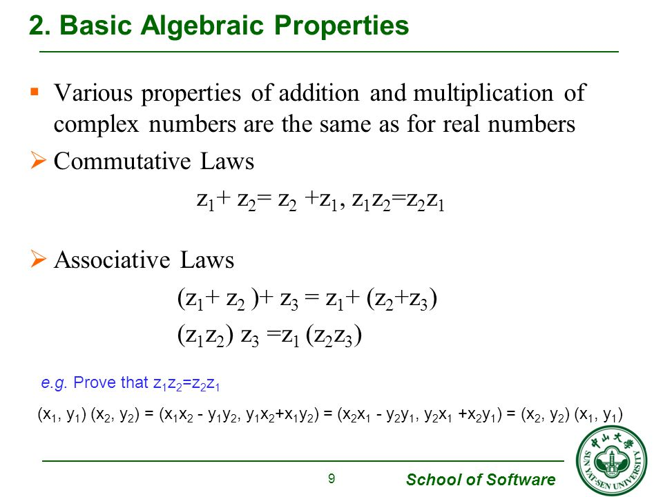 School of Software  Example 1 When z 1 =-1 and z 2 =i, then Arg(z 1 z 2 )=Arg(-i) = -π/2 but Arg(z 1 )+Arg(z 2 )=π+π/2=3π/2 8.