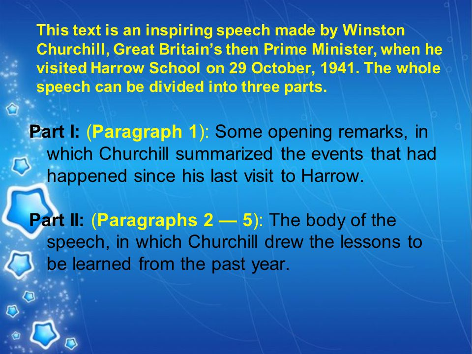 This text is an inspiring speech made by Winston Churchill, Great Britain's then Prime Minister, when he visited Harrow School on 29 October, 1941.