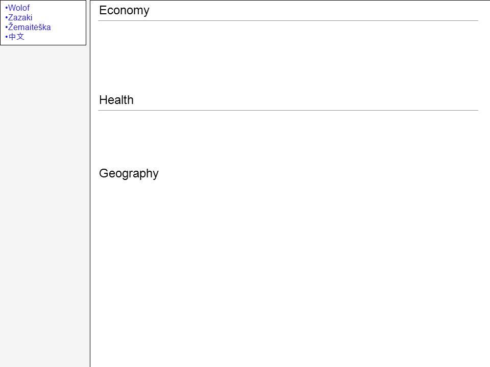Wolof Zazaki Žemaitėška 中文 Economy Health Geography