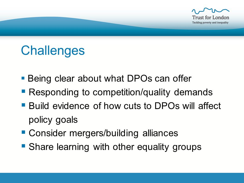Challenges  Being clear about what DPOs can offer  Responding to competition/quality demands  Build evidence of how cuts to DPOs will affect policy goals  Consider mergers/building alliances  Share learning with other equality groups