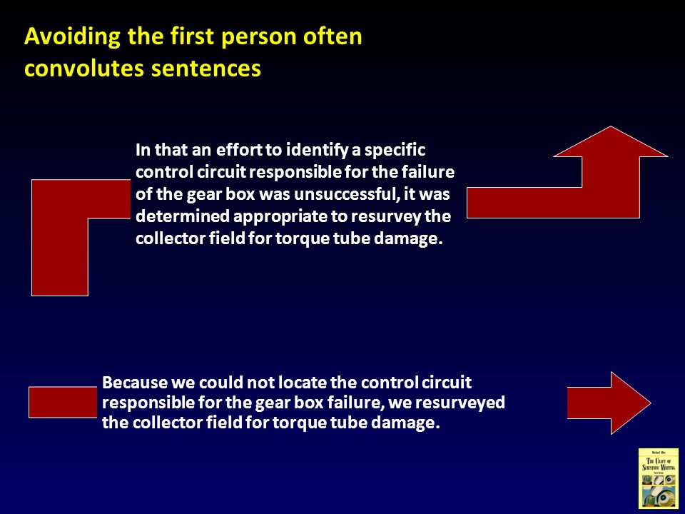 Avoiding the first person often convolutes sentences In that an effort to identify a specific control circuit responsible for the failure of the gear box was unsuccessful, it was determined appropriate to resurvey the collector field for torque tube damage.