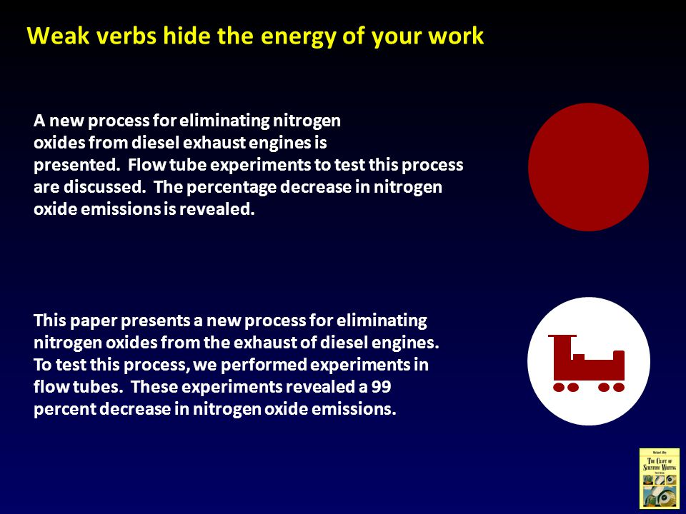 Weak verbs hide the energy of your work A new process for eliminating nitrogen oxides from diesel exhaust engines is presented.