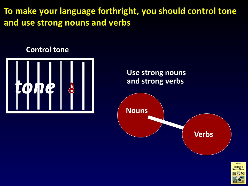 To make your language forthright, you should control tone and use strong nouns and verbs Use strong nouns and strong verbs Nouns Verbs Control tone tone