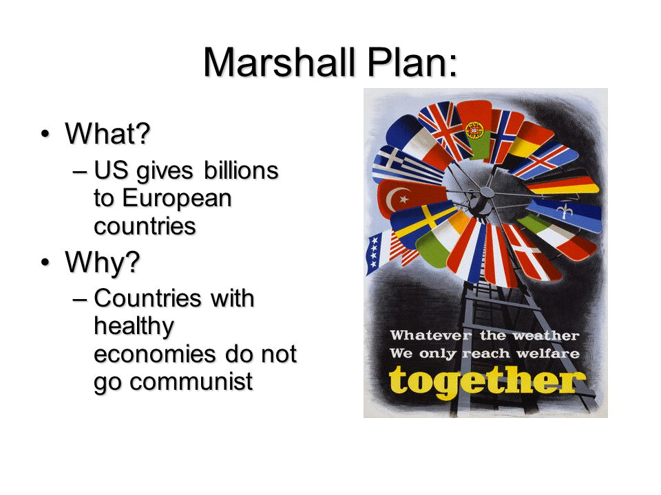 Containment: US will stop communism from spreading (but not attack existing communist countries)US will stop communism from spreading (but not attack existing communist countries) Domino Theory – if one country falls, then others will too (like dominos)Domino Theory – if one country falls, then others will too (like dominos)