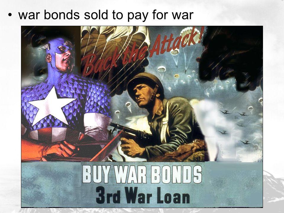 war bonds sold to pay for war