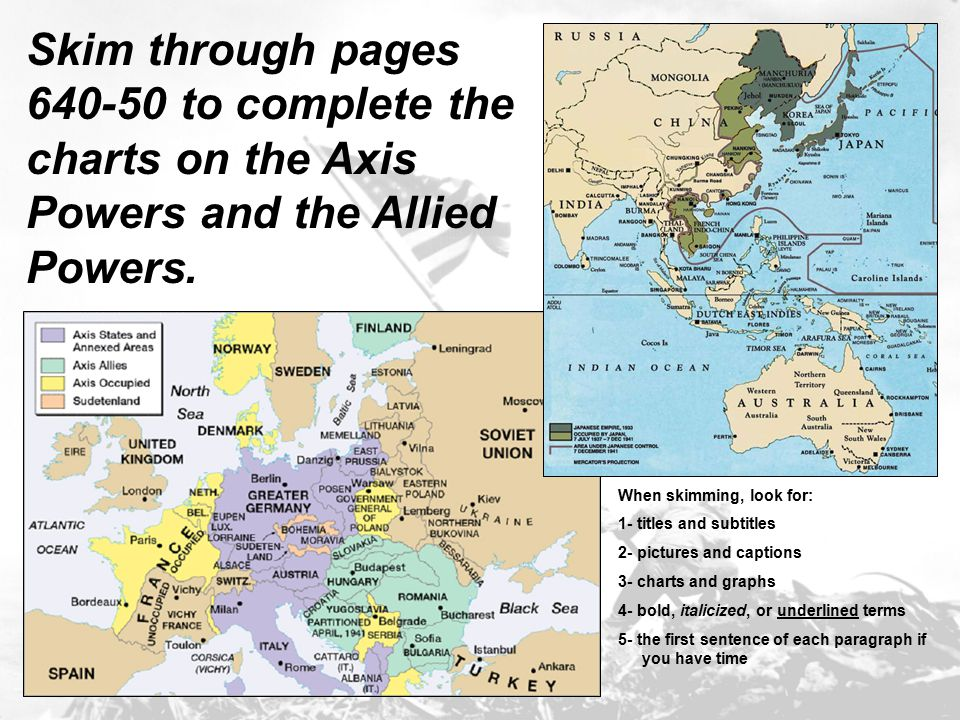 Skim through pages 640-50 to complete the charts on the Axis Powers and the Allied Powers. When skimming, look for: 1- titles and subtitles 2- picture