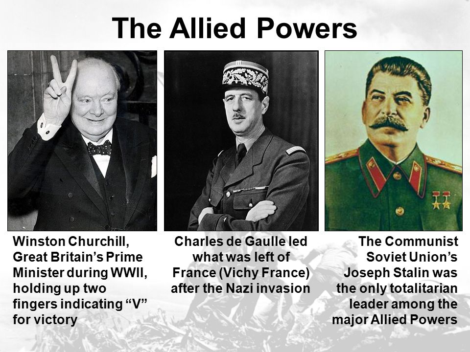 The Axis Powers Nazi Germany's leader, Adolf Hitler; translated: God is with us Fascist Italy's Benito Mussolini, nicknamed Il Duce (translated as The Leader ) Japanese Emperor Hirohito, who had ruled during Japan's militarism and expansion