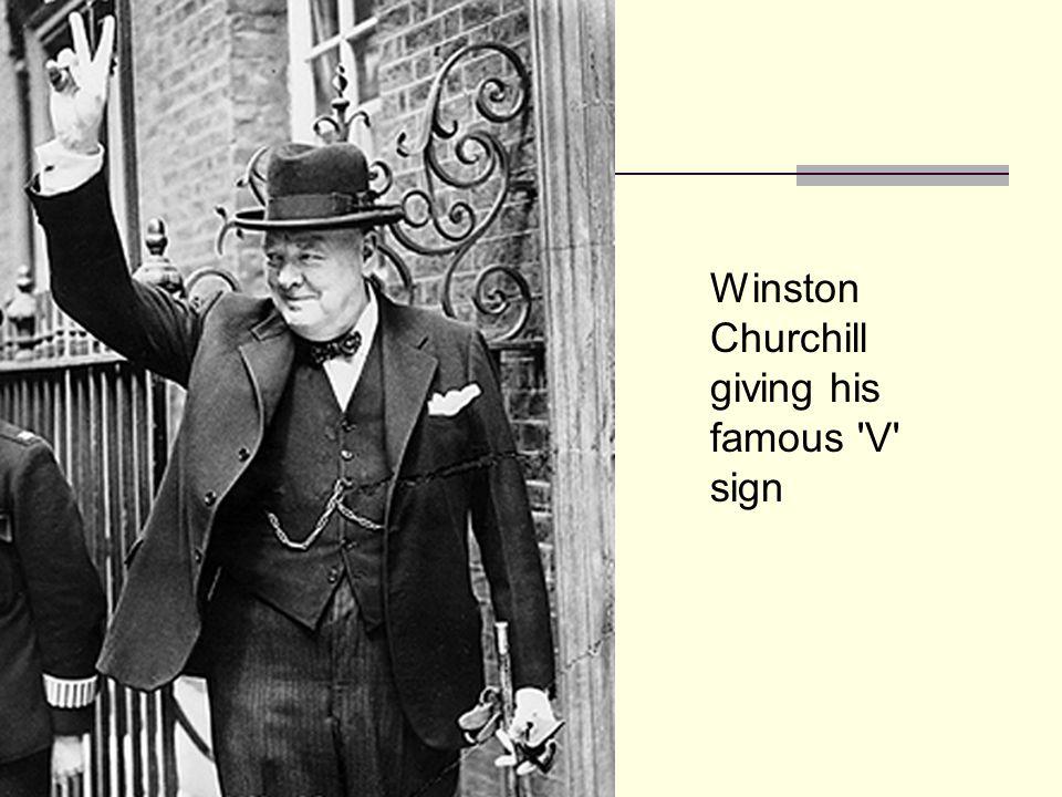 Winston Churchill giving his famous V sign