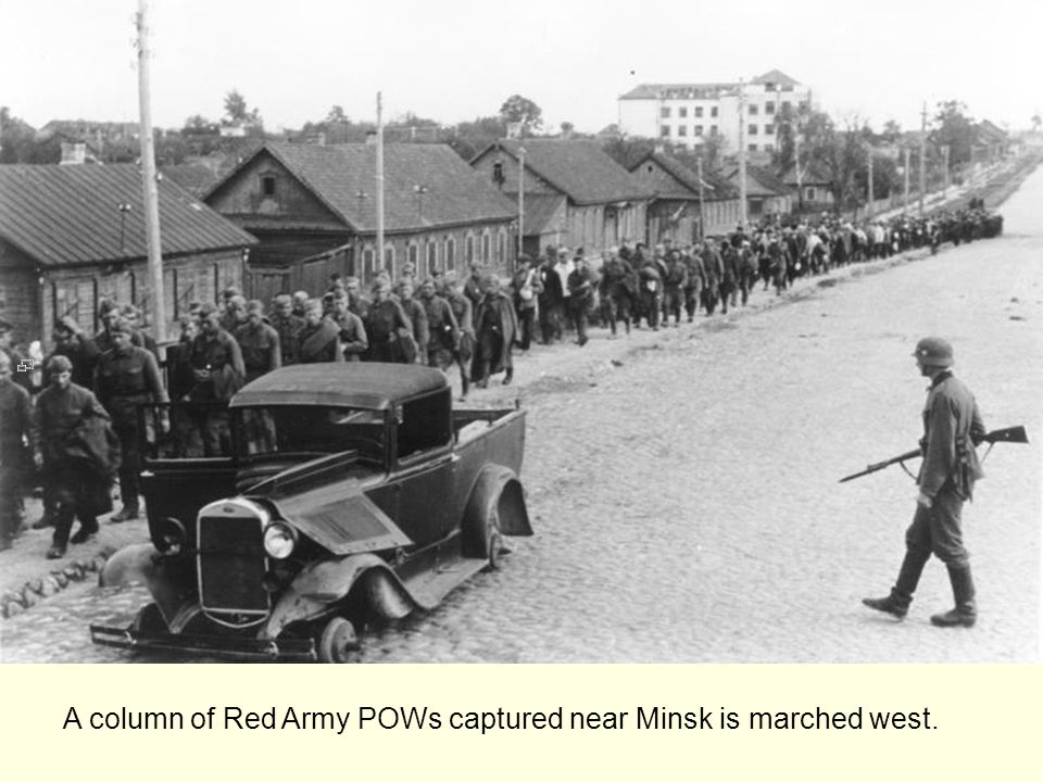 A column of Red Army POWs captured near Minsk is marched west.