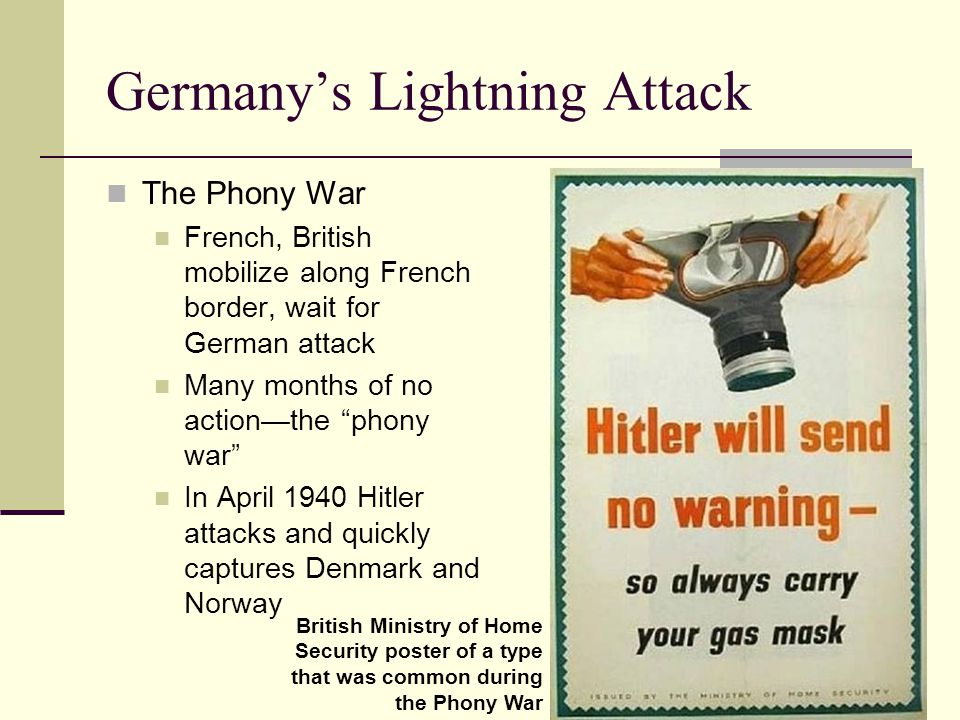 Germany's Lightning Attack The Phony War French, British mobilize along French border, wait for German attack Many months of no action—the phony war In April 1940 Hitler attacks and quickly captures Denmark and Norway British Ministry of Home Security poster of a type that was common during the Phony War