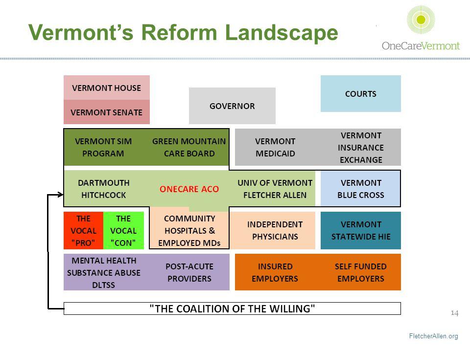 FletcherAllen.org 14 Vermont's Reform Landscape