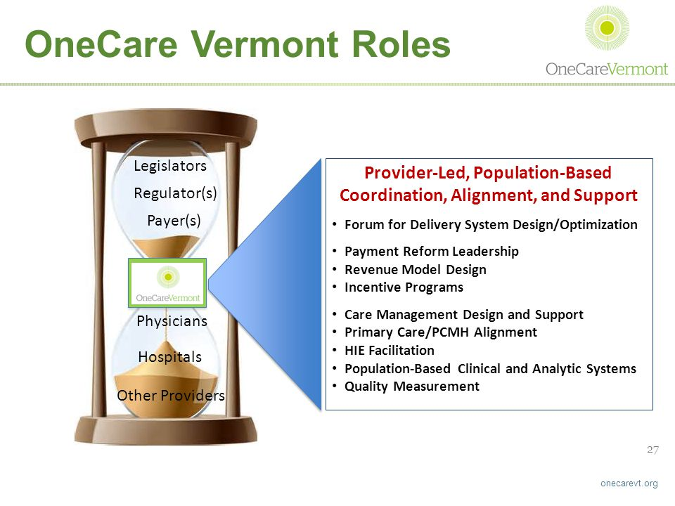 onecarevt.org 27 Provider-Led, Population-Based Coordination, Alignment, and Support Forum for Delivery System Design/Optimization Payment Reform Leadership Revenue Model Design Incentive Programs Care Management Design and Support Primary Care/PCMH Alignment HIE Facilitation Population-Based Clinical and Analytic Systems Quality Measurement ACO Regulator(s) Payer(s) Legislators Physicians Hospitals Other Providers OneCare Vermont Roles