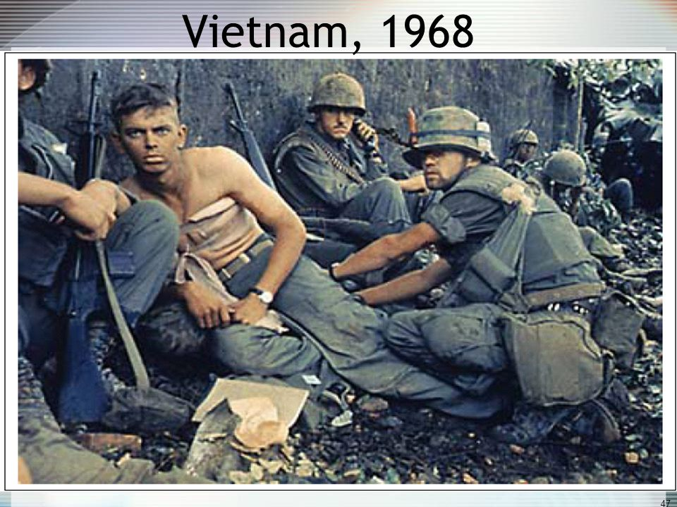 "Vietnam War Begins War started under Eisenhower (""Ike""), went on through JFK, and intensified under Lyndon B. Johnson (LBJ) Congress approved sending"