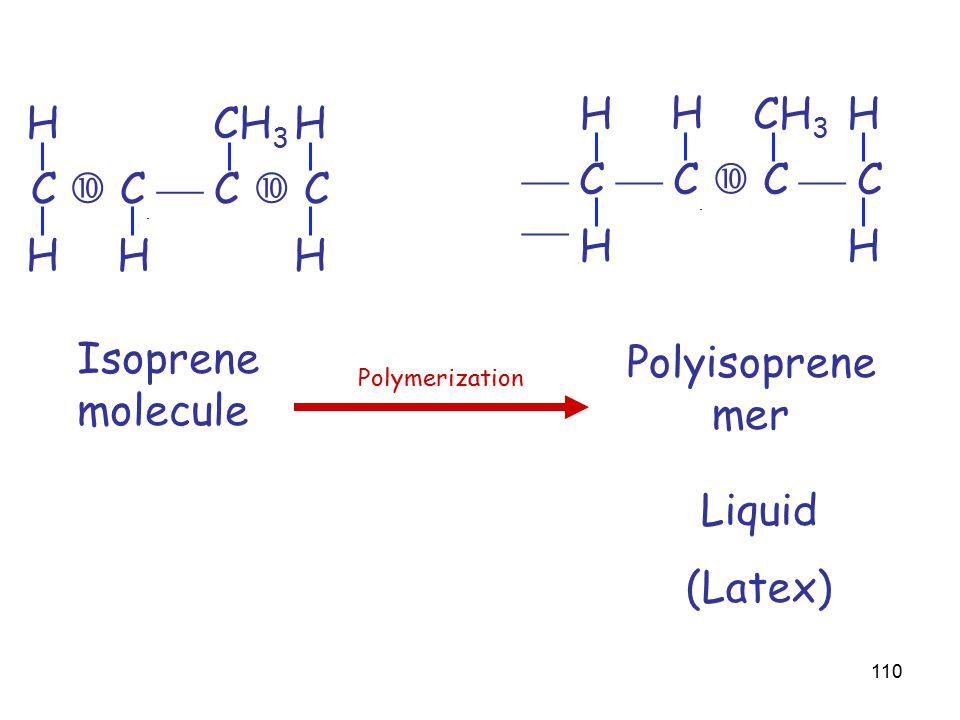 110 C  C  C  C HH HH H CH 3 Isoprene molecule Polyisoprene mer  C  C  C  C  HH HH H CH 3 Polymerization Liquid (Latex)