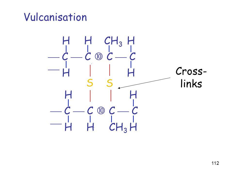 112  C  C  C  C  HH HH H CH 3  C  C  C  C  HH HH H CH 3 S Vulcanisation S     Cross- links