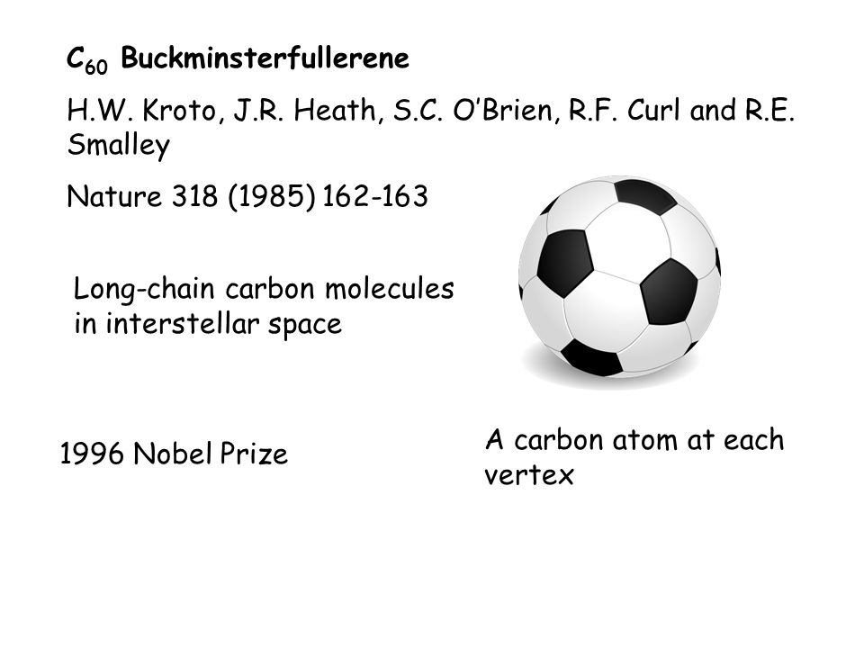 C 60 Buckminsterfullerene H.W. Kroto, J.R. Heath, S.C.