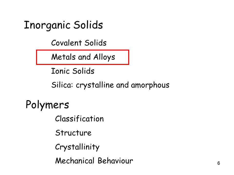 6 Inorganic Solids Covalent Solids Metals and Alloys Ionic Solids Silica: crystalline and amorphous Polymers Classification Structure Crystallinity Mechanical Behaviour