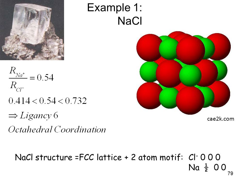 79 Example 1: NaCl cae2k.com NaCl structure =FCC lattice + 2 atom motif: Cl - 0 0 0 Na ½ 0 0