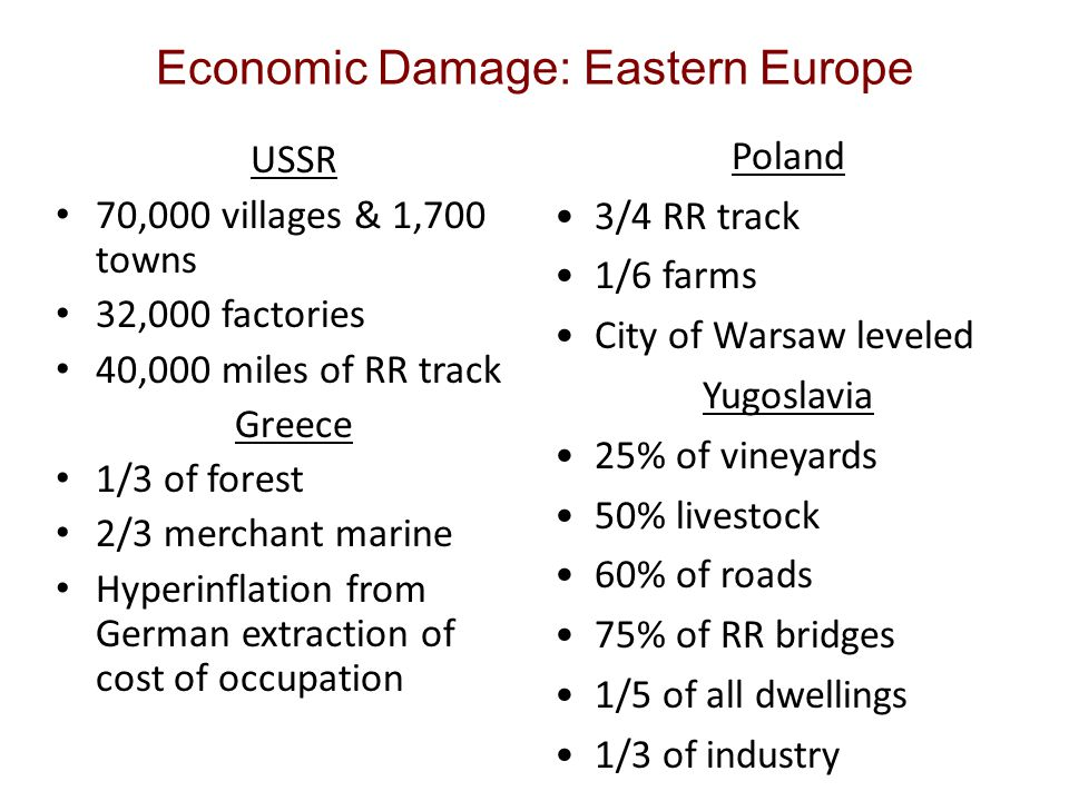 Economic Damage: Eastern Europe USSR 70,000 villages & 1,700 towns 32,000 factories 40,000 miles of RR track Greece 1/3 of forest 2/3 merchant marine Hyperinflation from German extraction of cost of occupation Poland 3/4 RR track 1/6 farms City of Warsaw leveled Yugoslavia 25% of vineyards 50% livestock 60% of roads 75% of RR bridges 1/5 of all dwellings 1/3 of industry