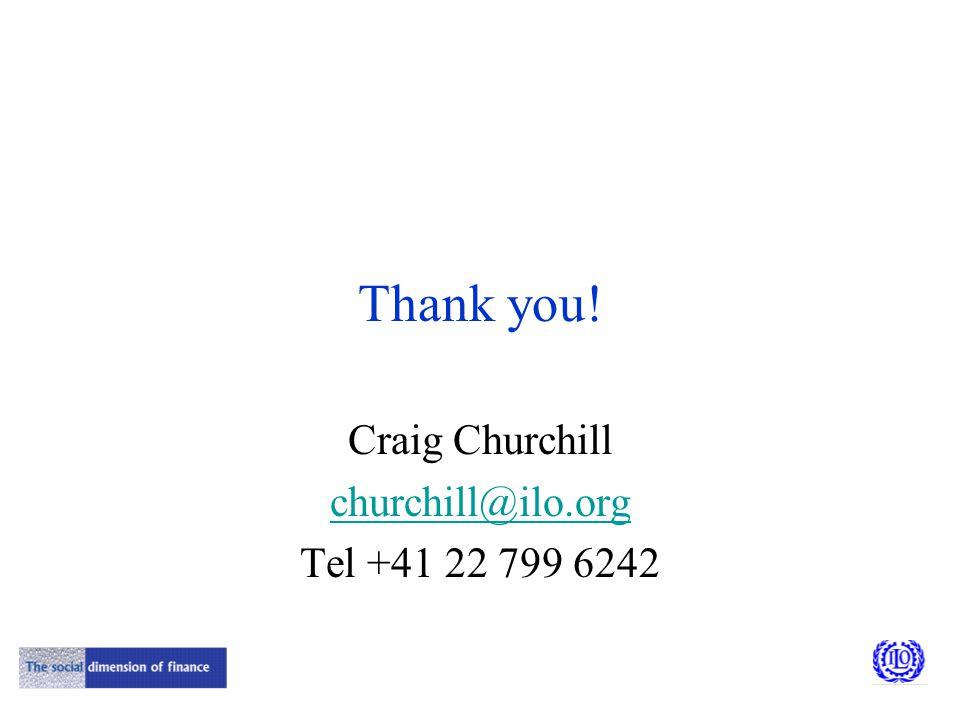 Thank you! Craig Churchill churchill@ilo.org Tel +41 22 799 6242