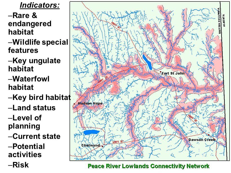 Indicators: –Rare & endangered habitat –Wildlife special features –Key ungulate habitat –Waterfowl habitat –Key bird habitat –Land status –Level of planning –Current state –Potential activities –Risk