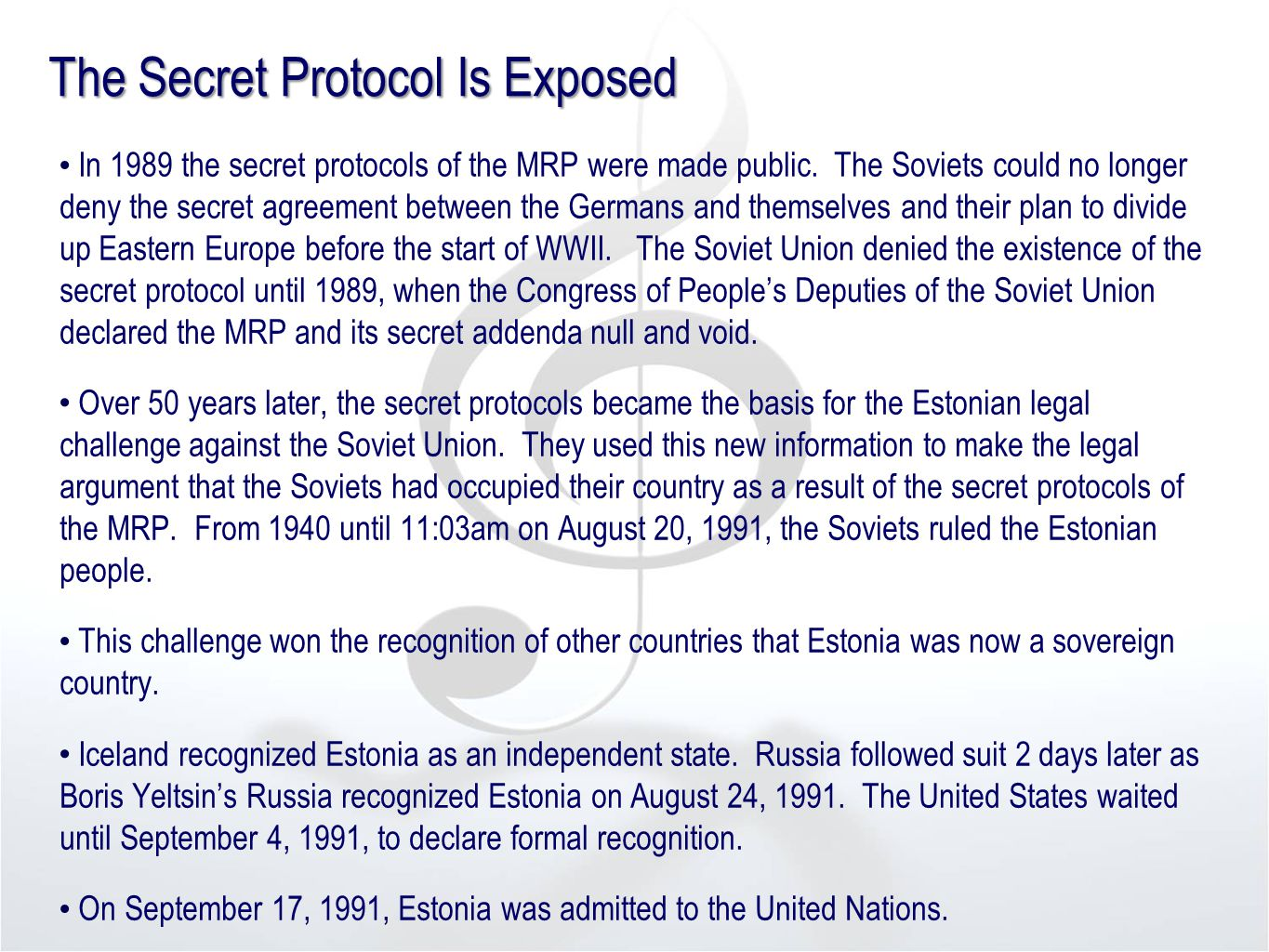 The Secret Protocol Is Exposed In 1989 the secret protocols of the MRP were made public.