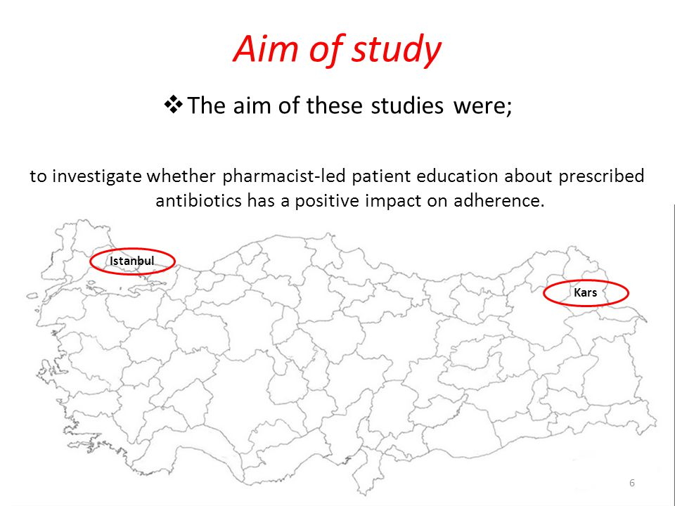 Aim of study  The aim of these studies were; to investigate whether pharmacist-led patient education about prescribed antibiotics has a positive impact on adherence.