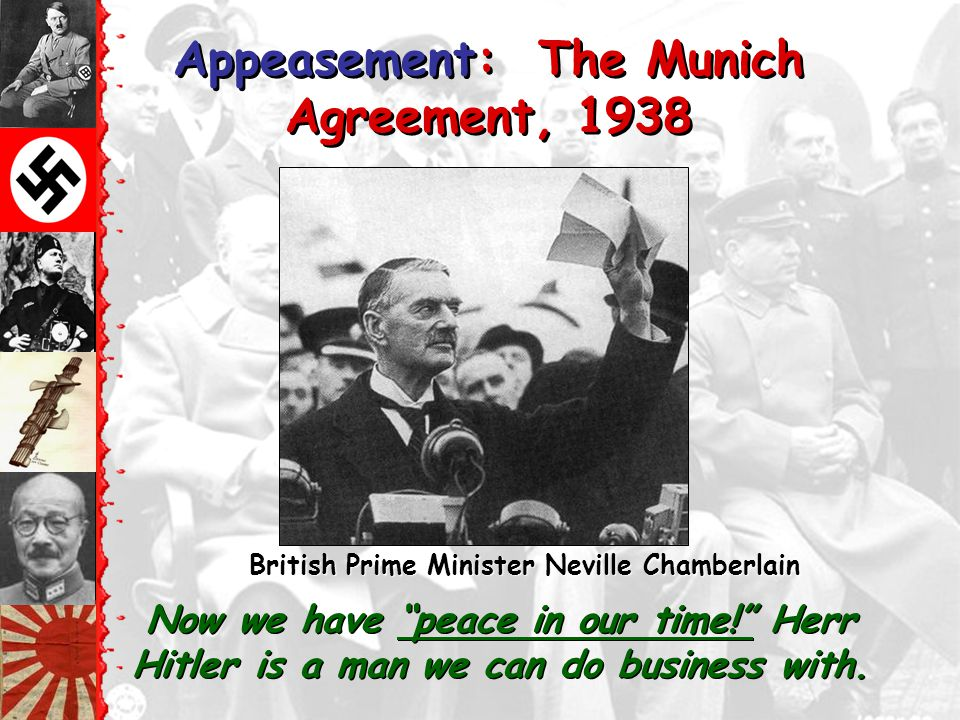 1938- Germany annexed Austria (Anchluss), British Prime Minister Chamberlain calls for a conference at Munich; Munich Agreement signed giving part of Czechoslovakia to Germany in exchange for Hitler's promise not to make any more demands 1939- Germany takes the rest of Czechoslovakia, Nazi-Soviet NonAggression Pact signed, Poland is invaded – WWII begins