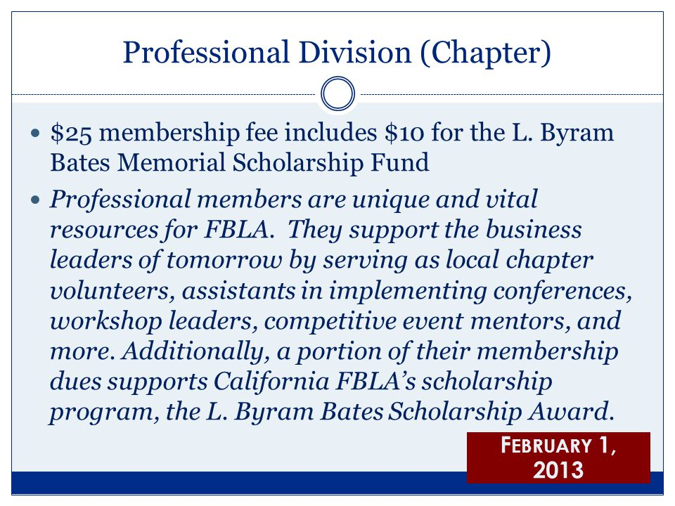 Professional Division (Chapter) $25 membership fee includes $10 for the L. Byram Bates Memorial Scholarship Fund Professional members are unique and v