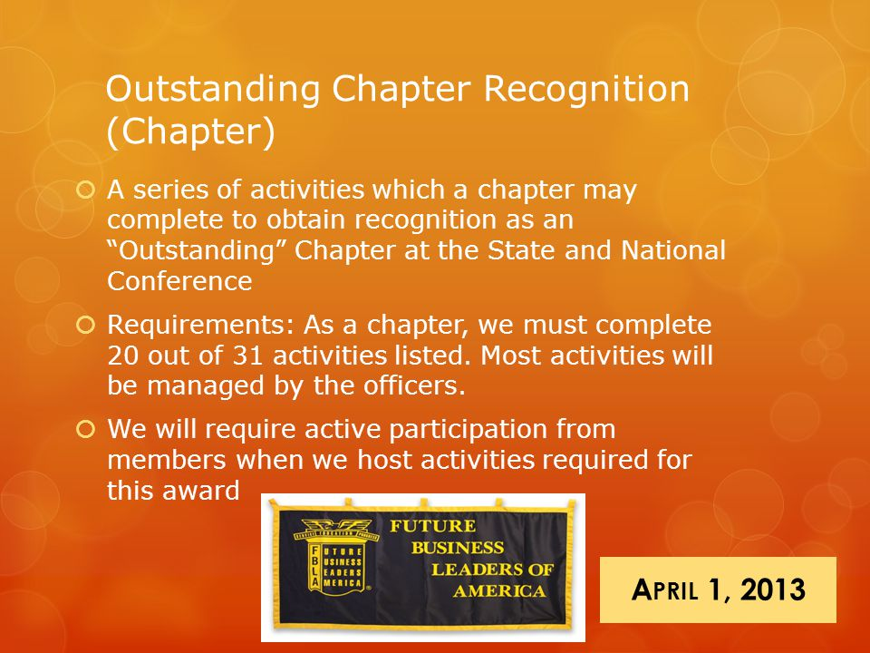 "Outstanding Chapter Recognition (Chapter)  A series of activities which a chapter may complete to obtain recognition as an ""Outstanding"" Chapter at t"