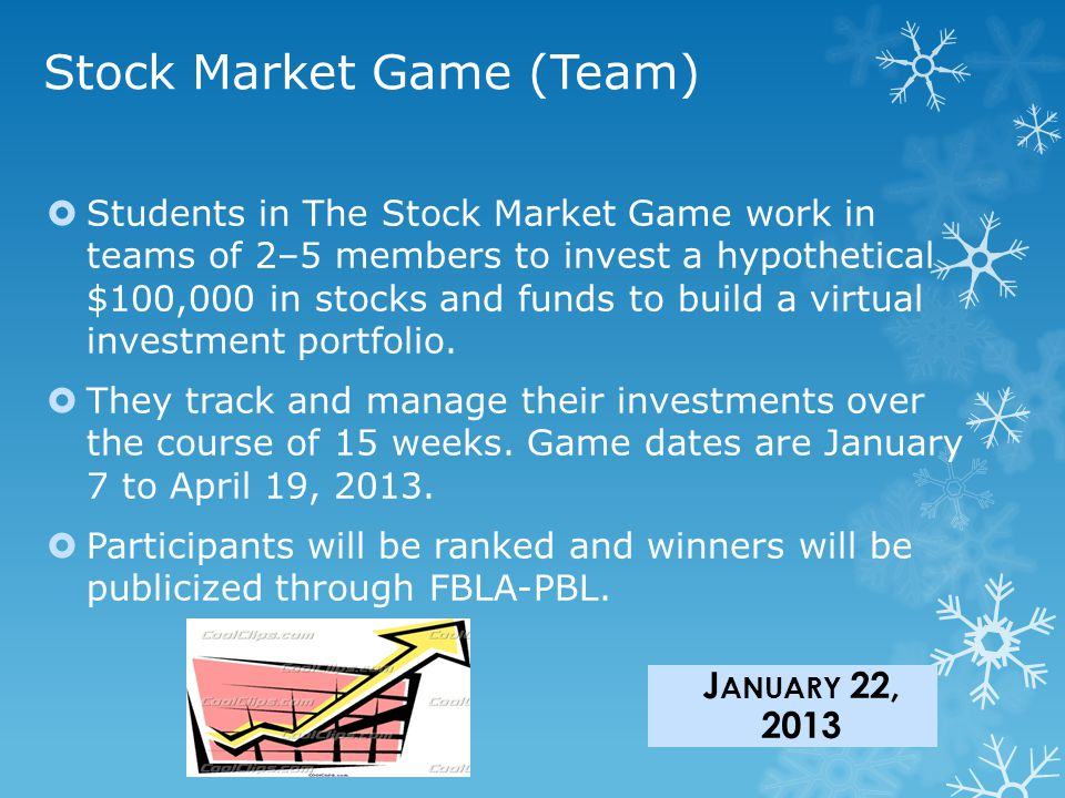Stock Market Game (Team)  Students in The Stock Market Game work in teams of 2–5 members to invest a hypothetical $100,000 in stocks and funds to build a virtual investment portfolio.