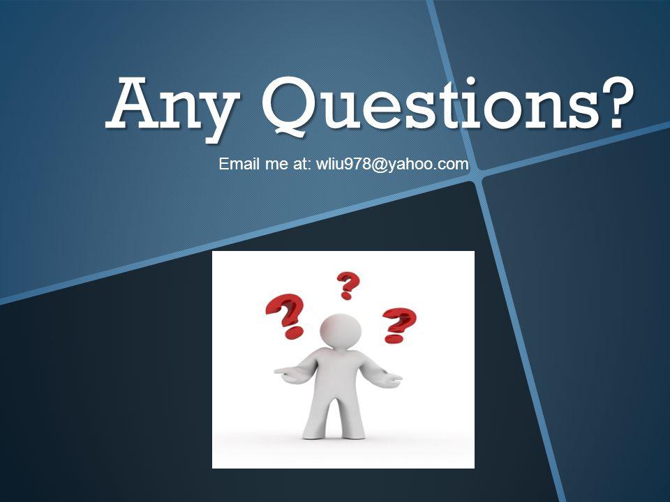 Any Questions Email me at: wliu978@yahoo.com