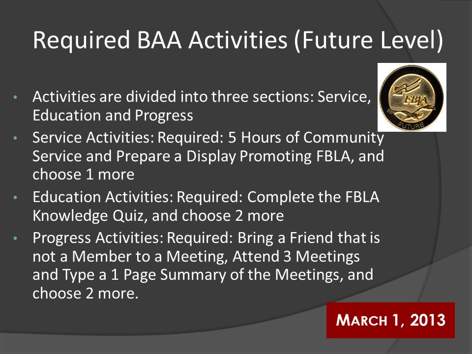 Required BAA Activities (Future Level) Activities are divided into three sections: Service, Education and Progress Service Activities: Required: 5 Hou