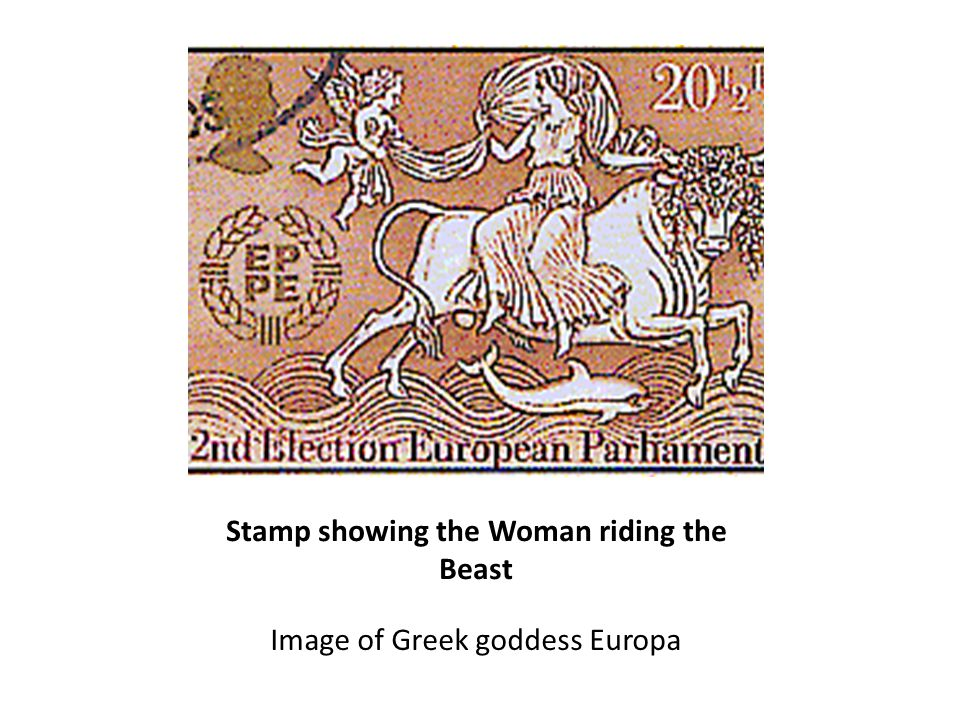 Stamp showing the Woman riding the Beast Image of Greek goddess Europa