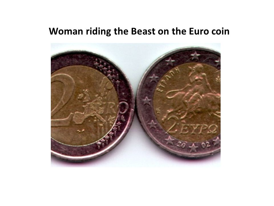 Woman riding the Beast on the Euro coin