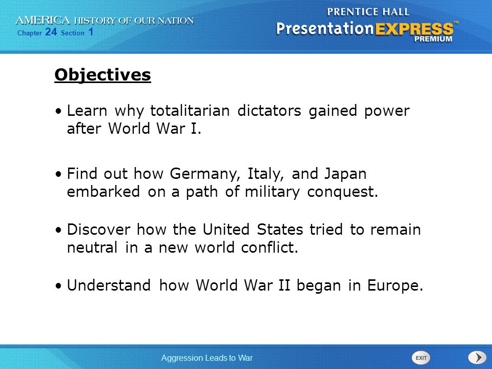 Chapter 24 Section 1 Aggression Leads to War German armies occupied Austria.