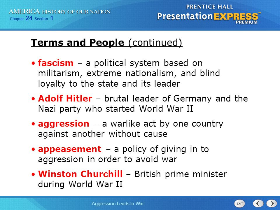 Chapter 24 Section 1 Aggression Leads to War What events led to the outbreak of World War II.