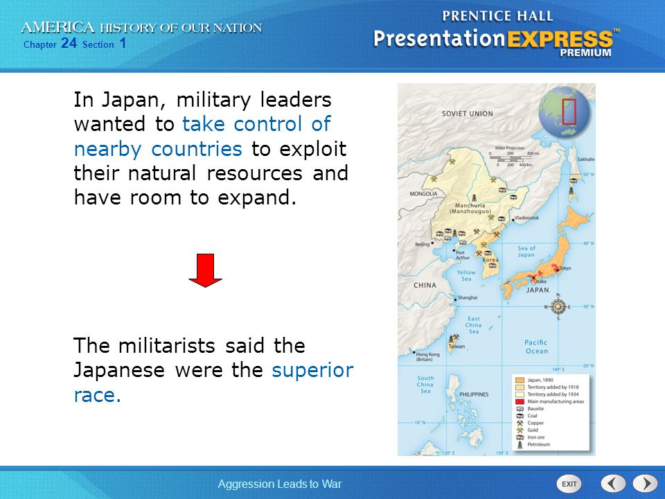 Chapter 24 Section 1 Aggression Leads to War In 1931, the Japanese army seized Manchuria.