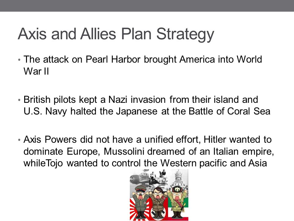 Axis and Allies Plan Strategy The attack on Pearl Harbor brought America into World War II British pilots kept a Nazi invasion from their island and U