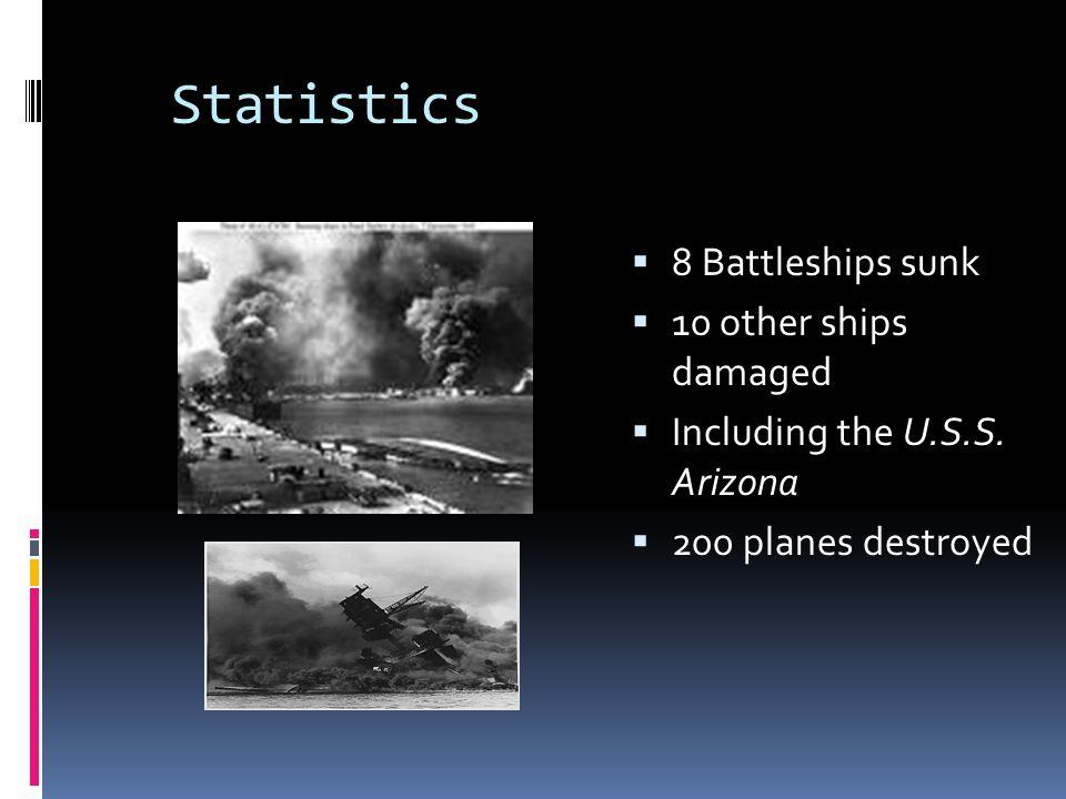 Statistics  8 Battleships sunk  10 other ships damaged  Including the U.S.S. Arizona  200 planes destroyed