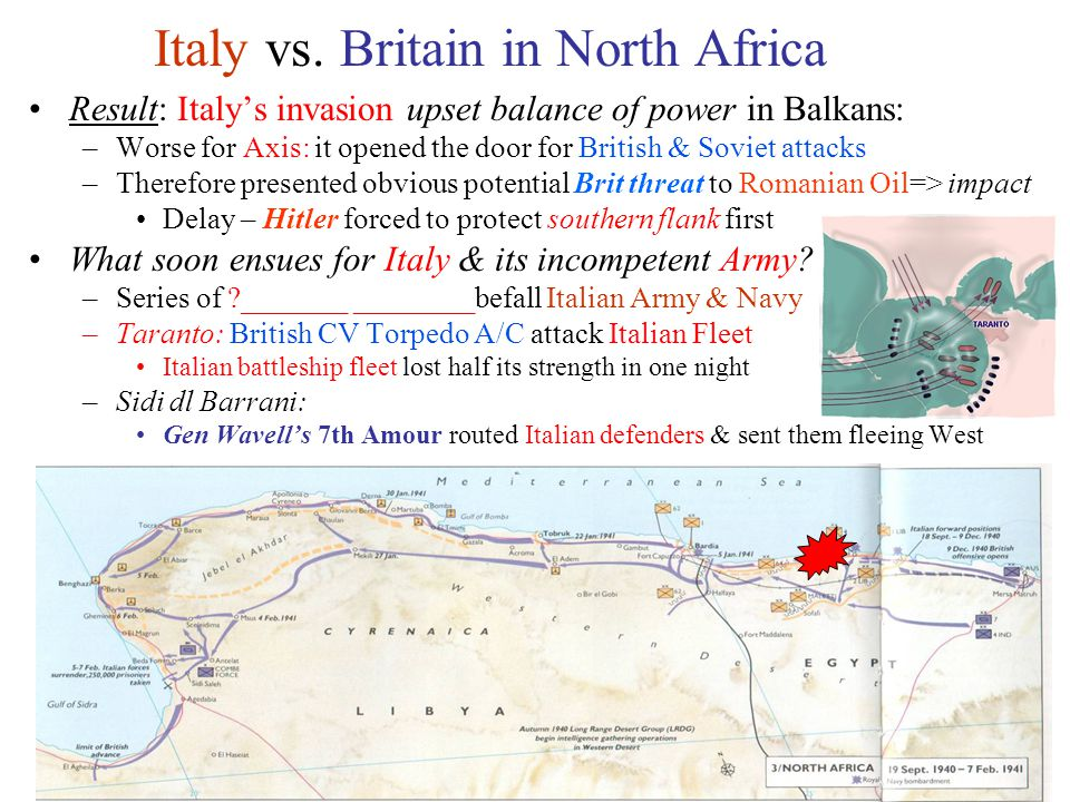 20 Italy vs. Britain in North Africa Result: Italy's invasion upset balance of power in Balkans: –Worse for Axis: it opened the door for British & Sov
