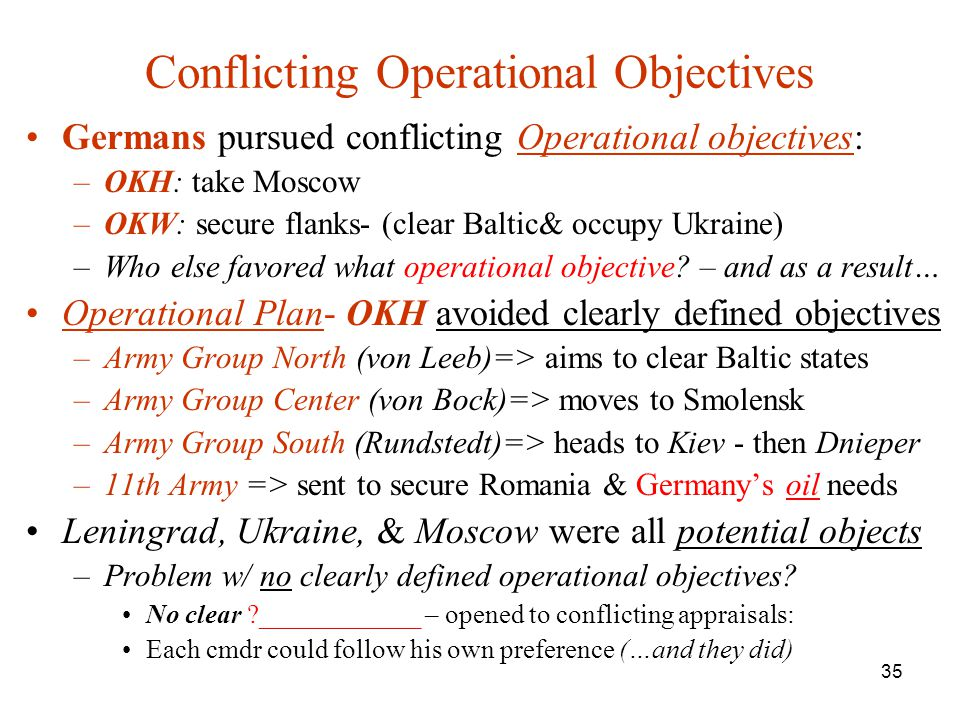 35 Conflicting Operational Objectives Germans pursued conflicting Operational objectives: –OKH: take Moscow –OKW: secure flanks- (clear Baltic& occupy Ukraine) –Who else favored what operational objective.