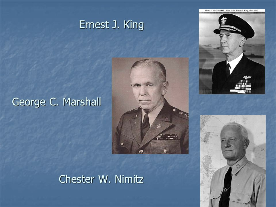 Ernest J. King George C. Marshall Chester W. Nimitz Ernest J.
