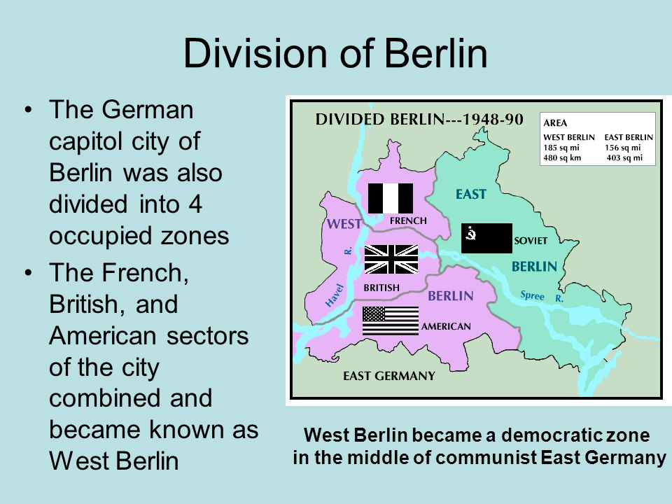 Division of Berlin The German capitol city of Berlin was also divided into 4 occupied zones The French, British, and American sectors of the city comb