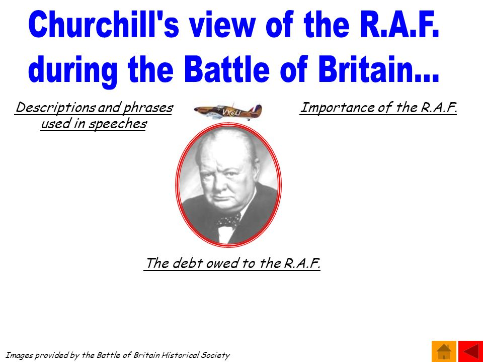 Images provided by the Battle of Britain Historical Society Descriptions and phrases used in speeches Importance of the R.A.F.