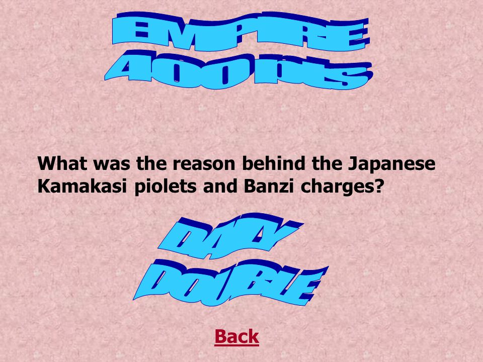 Who did Japan want to defeat the most Back