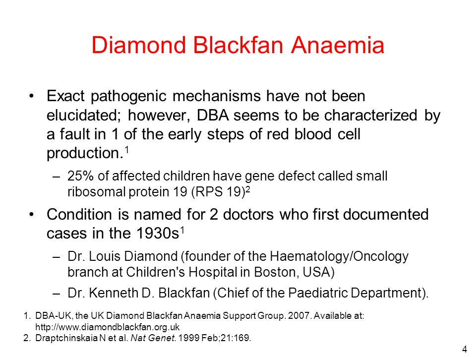 4 1.DBA-UK, the UK Diamond Blackfan Anaemia Support Group.