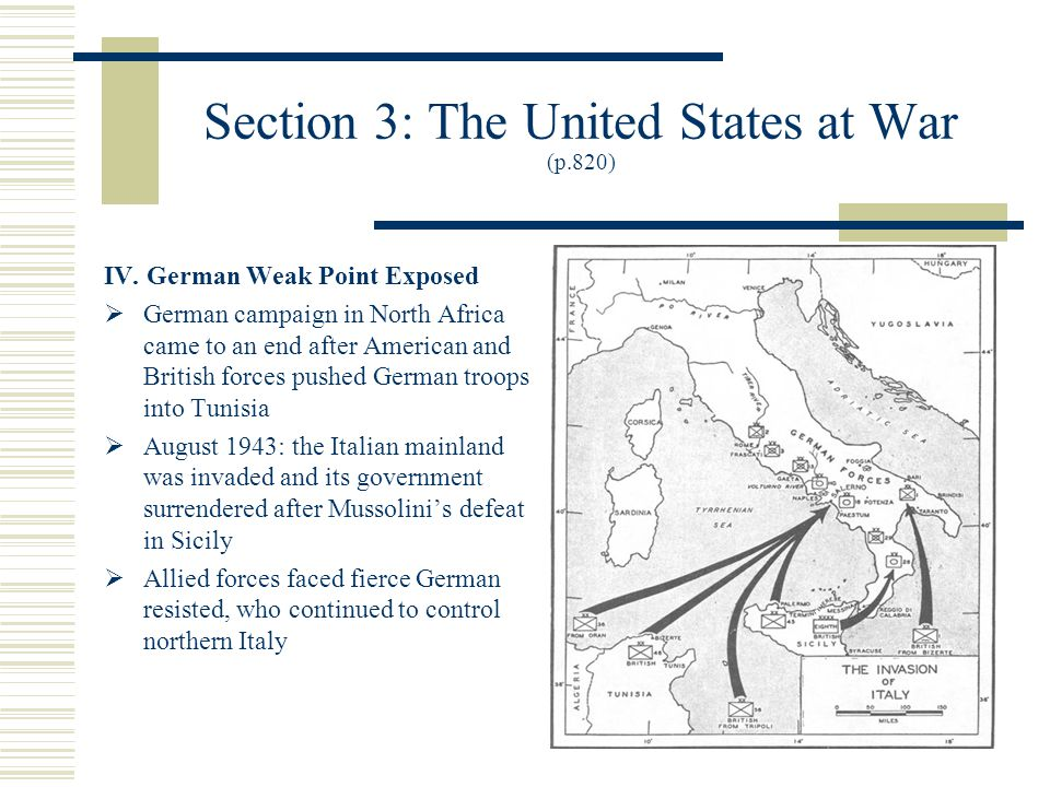 Section 3: The United States at War (p.820) IV.